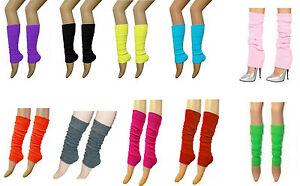 Ladies Girls Teens Neon Plain Ruffle Leg Warmers Dance Wear  80s Fancy Dress
