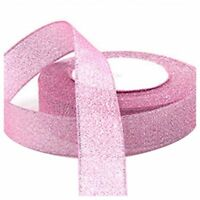 22 Metres 25mm Double Sided Satin Glitter Ribbons Bling Bows Reels Wedding Pi TP