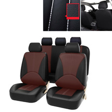 9x Full Set PU Leather Car Seat Covers - Front & Rear Two-Tone in Black & Coffee
