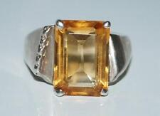 925 STERLING SILVER ORANGE YELLOW CITRINE SIZE 7.5 RING 6.4 GR RT4