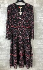 NWT NEW WITH TAGS TED BAKER CBN V NECK PRINTED DRESS BLACK $329 PAISLEY SZ 1