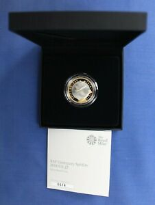 """2018 Silver Proof £2 coin """"RAF Anniversary - Spitfire"""" in Case with COA"""