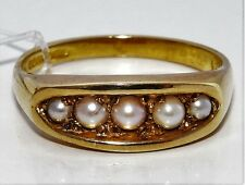 9CT YELLOW GOLD 5 STONE  PEARL  ETERNITY RING Size O 1/2