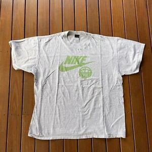 Vintage 90s Nike Basketball Size XXL Grey Logo T Shirt Mens Black Label Swoosh