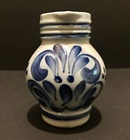 "Vintage Blue Pottery Salt Glazed Mini Creamer Cruet Syrup Pitcher 4"" High"