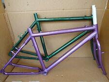 "Raleigh Rsp Alloy 26"" Frame / Forks Retro Vintage Mtb Green Or Aubergine New"