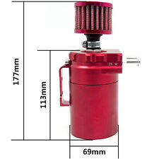 Grind Arenaceous Baffled Universal Oil Catch Tank Can Reservoir W/Filter Red