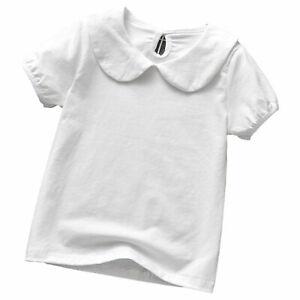 Infant Baby Girls Summer Short Sleeve T-shirt Casual Top Turndown Collar Blouse