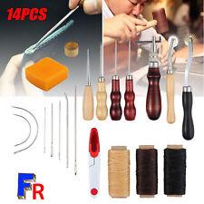 14pcs Outils de couture à la main en cuir fil à poinçon ciré dé à coudre kit
