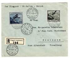 Liechtenstein Sc#C4,#C5-RUGGELL 18/IX/30-REGISTERED(label)-AIR MAIL to GERMANY