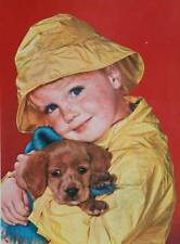 Little Boy Rain Coat and Hat with puppy, vintage 1950s print