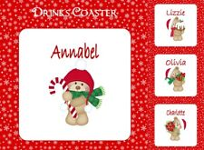PERSONALISED CHRISTMAS BEARS DRINKS COASTER MATCHES NAPKIN