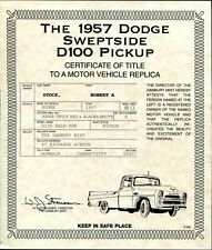 DANBURY MINT 1957 DODGE SWEPTSIDE D 100 UNPACKING / CARE + TITLE PAPERS ONLY