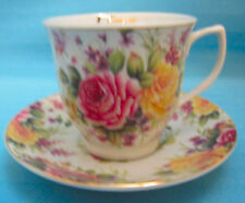 Tea Cup & Saucer Bone China I Love You Roses Flower Floral Pink Yellow White