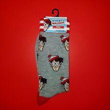 Planet Sox New Where's Waldo Retro Novelty Men's Crew Socks Gray GIFT Holidays