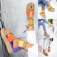 US Women Platform Espadrilles Rope Hemp Casual 2.5-8.5 Size Shoes Sandals