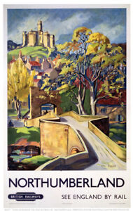 Vintage Northumberland bridge - British Art Railway Travel Poster A1/A2/A3/A4