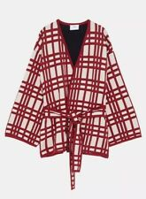 NWT Zara Checked Check Kimono Jacket With Belt Beige Red Size M Medium