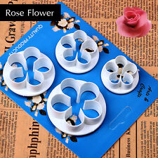4Pcs Rose Flower Cookie Fondant Cake Cutter Paste Sugarcraft Decorating Mold # Y