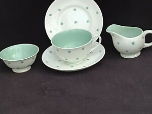 Suzie Cooper Tea Set For One Person polkadot pea design mint green and white