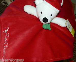 BABY STARTER'S SECURITY BLANKET BEAR MY FIRST CHRISTMAS RED WHITE SANTA HAT SOFT