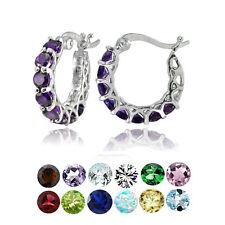Sterling Silver Gemstone Birthstone Small Round Huggie Hoop Earrings