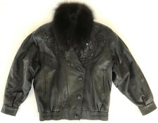 vtg 80s Balmain leather detachable fur collar biker jacket women size F fits L