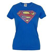 Superman Distressed Logo Junior Ladies T-Shirt