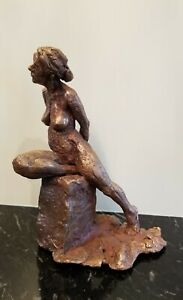 "Vintage Hand Made Nude Woman Sculpture Figurine Mix Media Bronze Plated 8""x 5.5"""