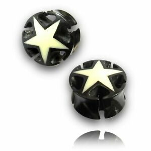 PAIR ORGANIC BUFFALO HORN & BONE STAR PLUGS TUNNELS GAUGES EARRINGS DOUBLE SIDE