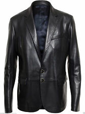 Men's Genuine soft Lambskin Leather Blazer Jacket Two Button Coat
