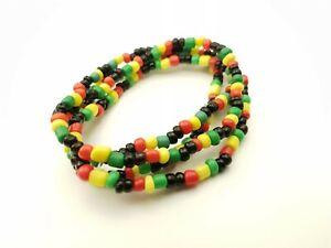 x4 Colourful Rasta Bead Bracelet Surfer Beach Arm Candy Ethnic Hippy Unisex