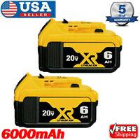 for Dewalt 20V 20 Volt Max XR 6.0AH Lithium Ion Battery DCB206-2 DCB205-2 2 Pack