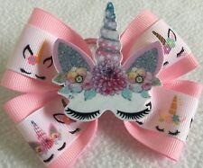 "Girls Hair Bow 4"" Wide Unicorn Big Flatback Pink Grosgrain Ribbon Alligator Clip"