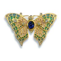 Gold Finish Plique-a-jour Cobalt Blue Crystal Enamel Butterfly Pin /Pendant