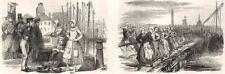 Calais fetes. Courgain fishmarket; Women hauling in a fishing boat, print, 1852