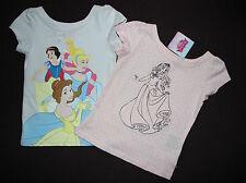 DISNEY lot de 2 t-shirts PRINCESSE cendrillon belle aurore blanche neige 3-4 ans