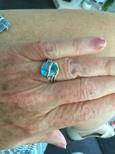 9ct Gold Blue Topaz large stone ring size M