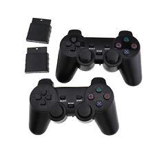 Schwarz 2 Funk Controller für Playstation 2 PS2 Wireless Dual Vibration Gamepad