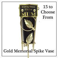 Gold Leaf Graveside Vase - Personalised Memorial Spike Flower Pot -15 Variations