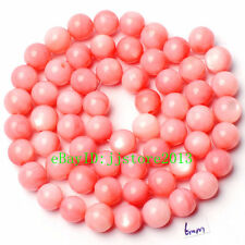 6mm Pretty Natural Pink Shell MOP Round Shape Gemstone Loose Beads Strand 15""
