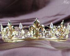 Wedding Bride Crown Imperial Medieval Round Tiara Clear Rhinestone Pageant Party