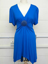 PLUS SIZE TOP BROOCH FRONT V NECK SHORT WATERFALL STRETCH JERSEY - COLOUR CHOICE