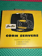 Vintage Serv-Rite Corn Servers 4 Dishes 8 Skewers MINT in Box 1950's Green WOW