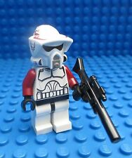 Lego Star Wars Red ARF Trooper with Sniper Rifle Blaster Minifig Figure 9488