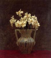 Oil painting Henri Fantin Latour - Flowers Narcisses in an Opaline Glass Vase