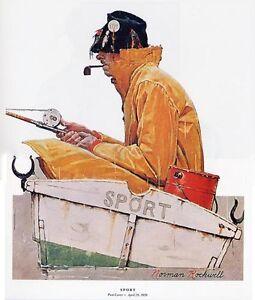 Norman Rockwell Boat Fisherman In Rain Print SPORT