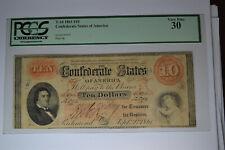 T-24. 1861 $10 Confederate States of America- Pcgs Very Fine 30