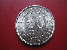 & Malaya BRITISH BORNEO 1961 50 Centesimi Regina Elisabetta II moneta in alta qualità
