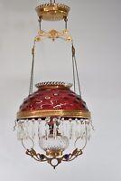 Antique Kerosene Hanging Light Cranberry Bullseye Shade Cut Crystals Blue Jewels